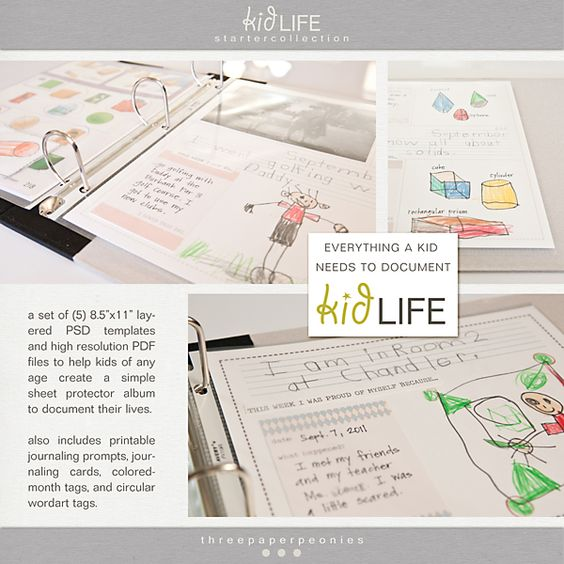 kid life: scrapbooking made easy for kids. what a great idea // three paper peonies