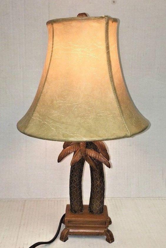Palm Tree Lamp Wood Ceramic Deer Skin Like Vintage Lamp Shade 16 Working Unbranded Tropical Antique Lamp Shades Wall Lamp Shades Small Lamp Shades