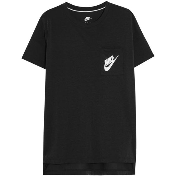 Nike Signal satin-jersey T-shirt (€33) ❤ liked on Polyvore featuring tops, t-shirts, shirts, tees, black, t shirts, nike t shirts, nike tops, nike shirts and logo tee