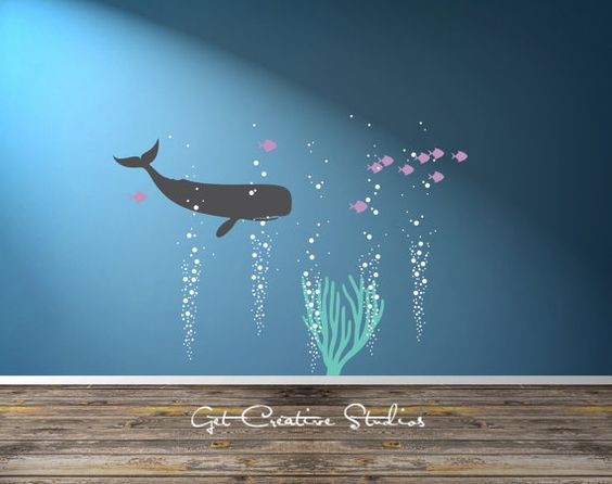 Whale Decal School of Fish Decal Ocean Scene Wall Art Underwater Bubble Wall Decal Nautical Theme Ocean Nursery Nautical Baby Room Decal