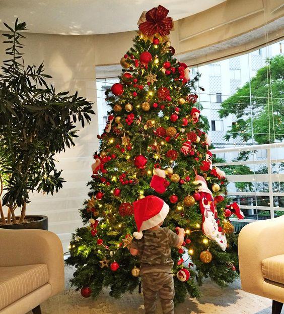 Tem uma ursinha aqui que amou a árvore de Natal ❤️✨ Eu amo montar a árvore e este ano tive uma ajudante, enquanto eu colocava uma bola ela tirava duas  deu mais trabalho mas foi muito bom ☺️☺️☺️