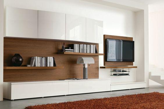 Mobile soggiorno moderno 546 in raffinato noce canaletto e laccato lucido bianco spazzolato ...