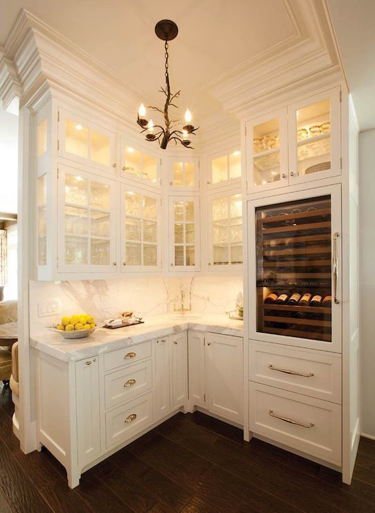 Crown molding Butler Pantry - Transitional - kitchen - W Design - love all the lights in and under the cabinets