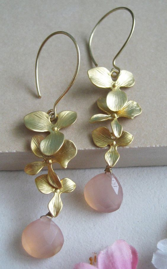 Orchid Dangle Earrings Handmade $42.00
