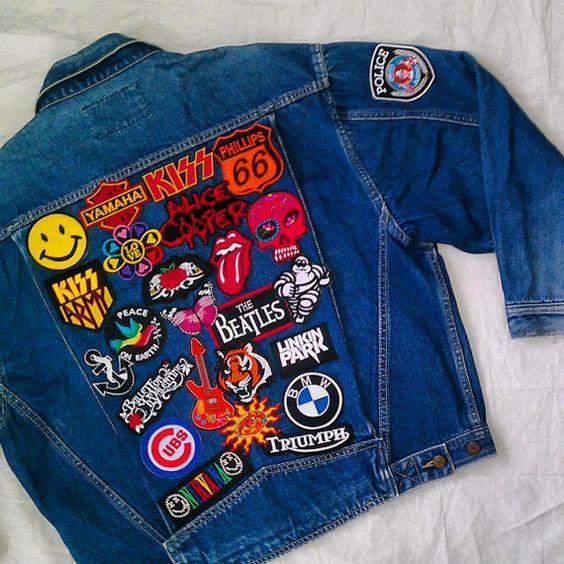 Patched Denim Hand Reworked Vintage Denim Jacket With