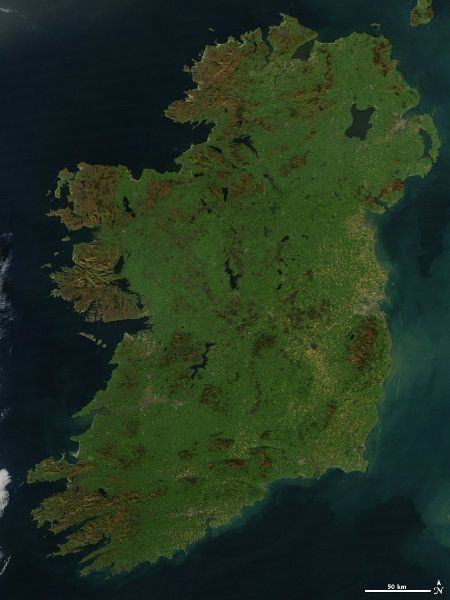 A cloudless picture of the emerald isle