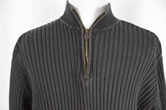 Covington Mens XXL 50-52 Dark Chocolate Brown Pull Over Sweater 1/4 Zip Up Warm…