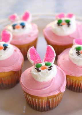 Two Easter Cupcakes: Bunny and Flower Cupcakes