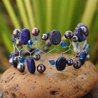 Cultured pearl and lapis lazuli beaded bracelet, 'Blue Glam' - Cultured pearl and lapis lazuli beaded bracelet