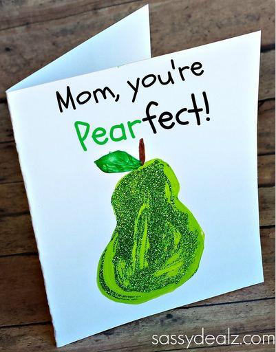 """You're PEARfect"" Card Idea for Kids to Make - Crafty Morning - ook Nederlands lukt: Mama, je bent PEERfect! - moederdag - kaartje - knutselen - kinderen"