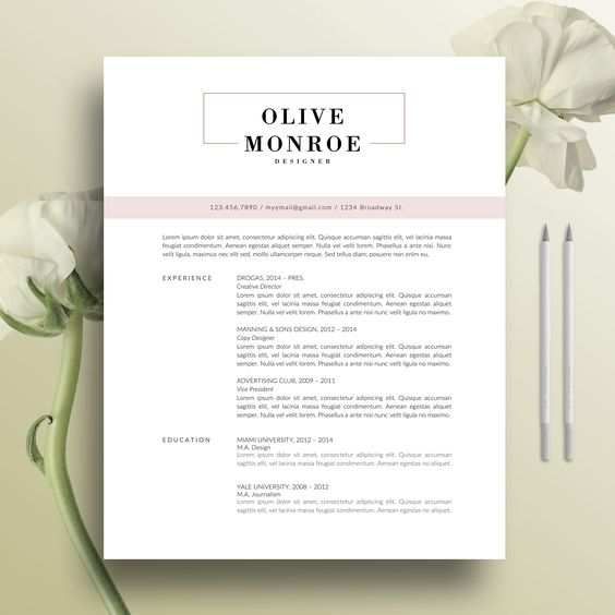 Minimalist CV (MS Word) Cloé by TheFrenchResume on - resume references page