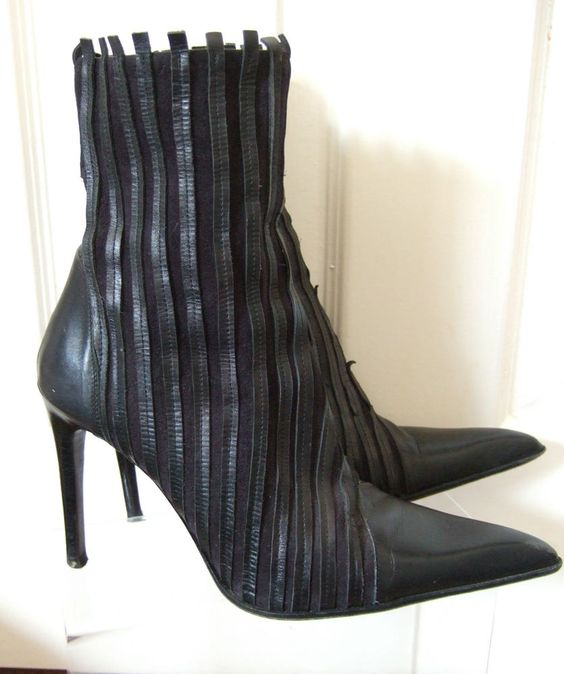 FX FLUXA Black leather pointed toe, stiletto heel ankle boots. UK 6/39/US 8.5