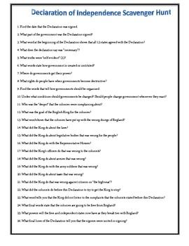 Worksheets American Declaration Of Independence Worksheet Answers declaration of student and the ojays on pinterest have students explore independence with this easy to use scavenger hunt
