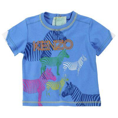 SS13 Kenzo Kids - Sky blue T-shirt with zebras - 30193