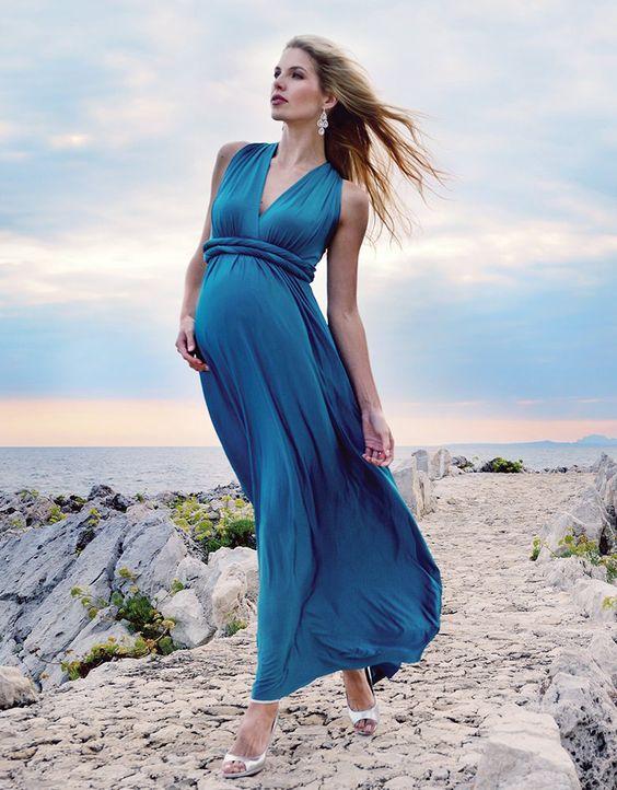 Robe de soirée bleu enceinte longue col en V