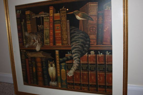 Cat on Bookcase Napping Framed Picture by VintagebyViola on Etsy, $105.00