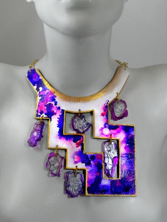 Leather-Glass Architectual in Purple.