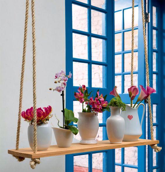 Faça você mesmo: apoio de madeira para vasos de flores.: