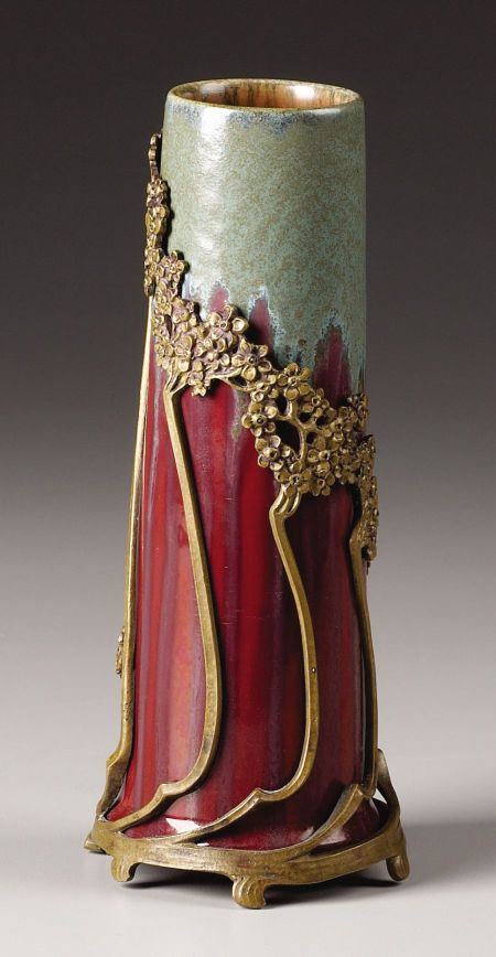 German Gilt Bronze Mounted Art Pottery Vase.  Attributed to Otto Eckmann, Germany, circa 1910: