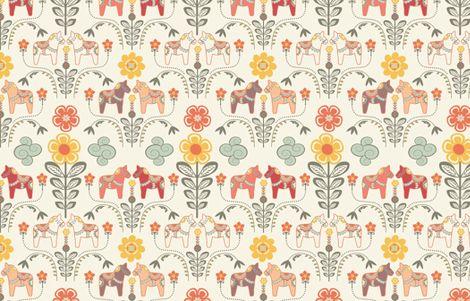 """dala horse paste multico M"" - nadja_petremand - Spoonflower"