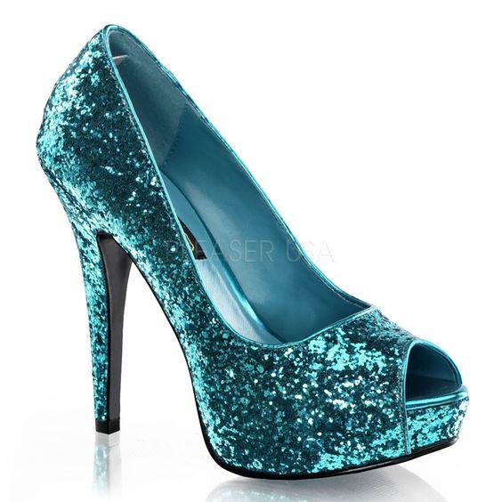 "TWI18G/TE    Turquoise Glitter 5 1/4"" Heel, 1"" PF Glitter Peep Toe Pump, 80's, New Wave Glitter Peep Toe Pump    5 1/4"" Heel, 1"" PF    5-11  $42.95"
