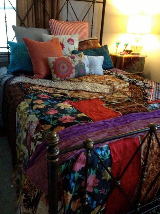 Gypsy Boho Bedspread Bedding Blanket Bohemian Anthropologie Quilt Inspired Moroccan