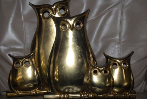 Pair of Vintage 1975 Syroco Gold Stylized Owl Wall Plaques #7414 7415