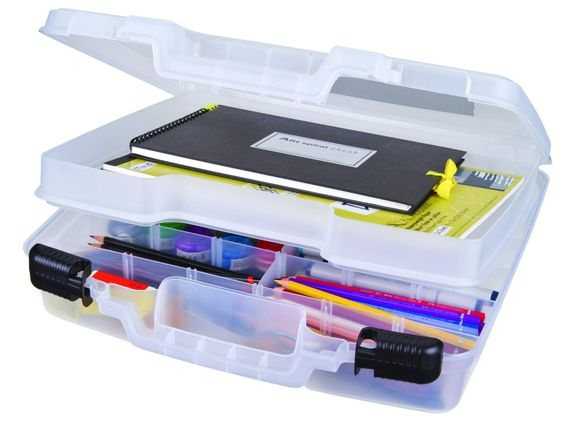 ArtBin Quick View Deep Base Carrying Case, Divided Base with Lift, Translucent Clear