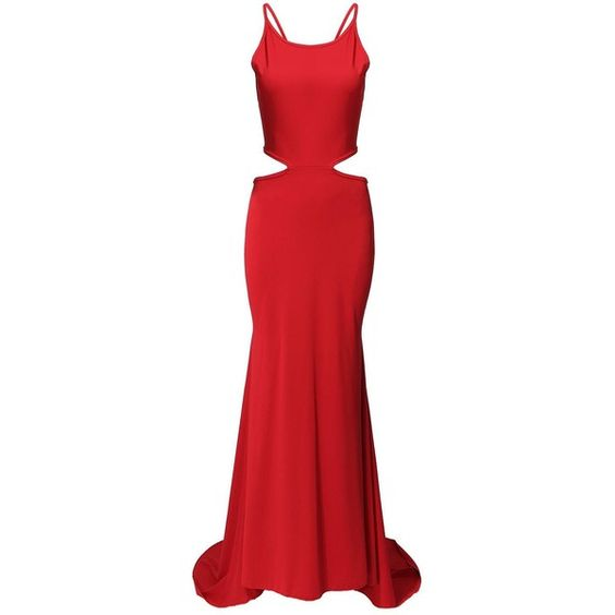 Yoins Red Maxi Dress (86 BRL) ❤ liked on Polyvore featuring dresses, gown, black, cocktail dresses, red bodycon dress, cut out dress, maxi dress, black dress y black body con dress