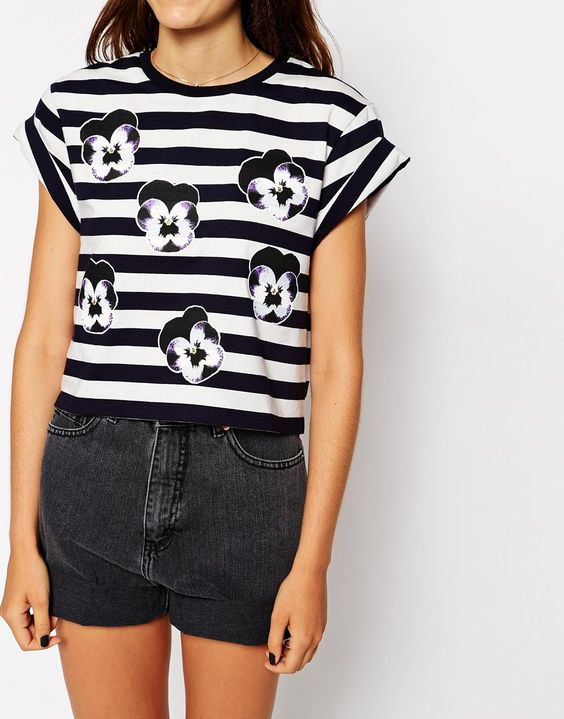 Image 3 ofASOS Cropped T-Shirt in Stripe and Pansy Print
