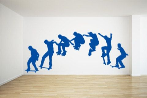 skateboard wall sticker - Sports Wall Stickers For Bedrooms