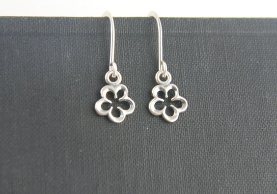 Tiny flower blossom earrings in sterling by jersey608jewelry, $22.00