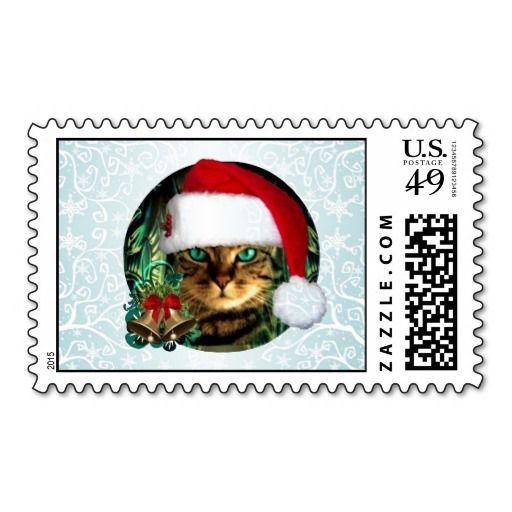 Santa Cat Christmas Stamp