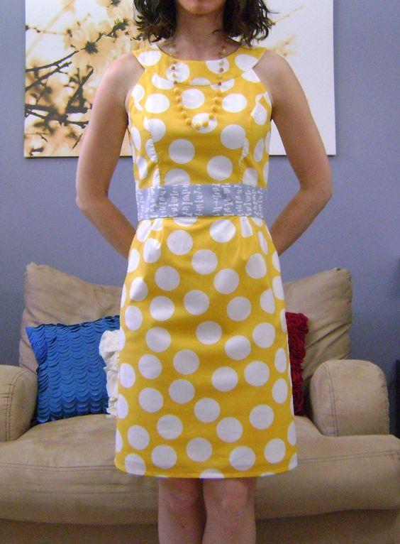 Yellow polka dot dress (Butterick 5353)