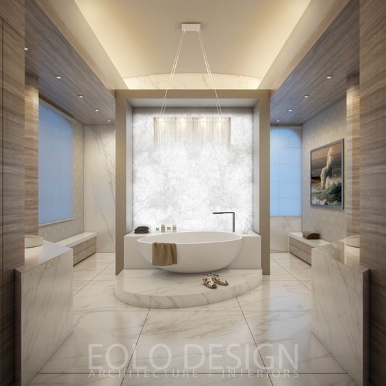 Modern Interior Design Of A Residential Master Bathroom