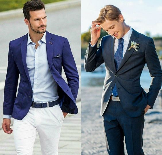 mariage sur la plage costume homme en blanc et bleu avec cravate