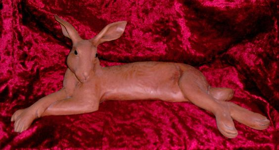 Limited-edition ceramic hare by the sculptress Suzie Marsh, about half life-size, bought in Bath in the mid to late 1980s.