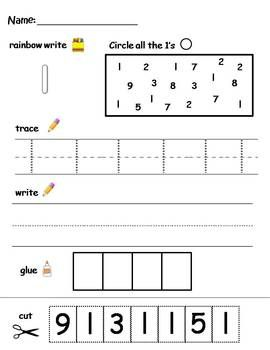 Numbers 1-10 printable worksheets - find, write, trace, and glue ...