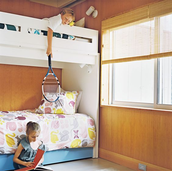 Henry and Emily share a bedroom and bunkbed made by Ducduc, an American furniture company...