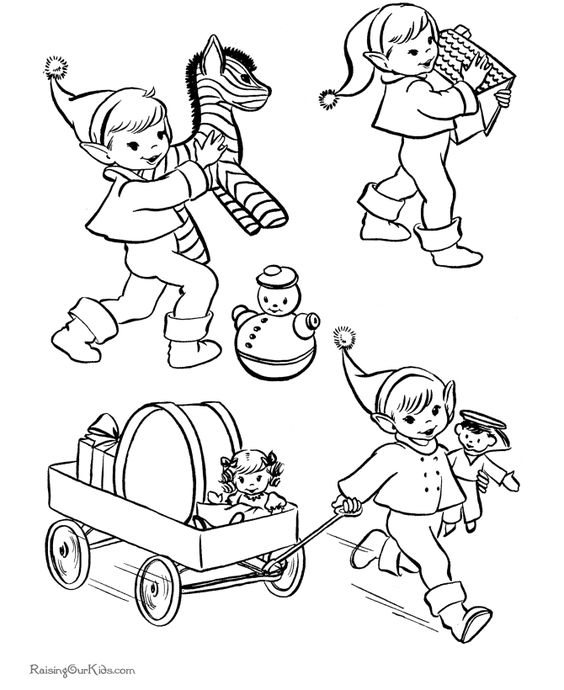 Christmas coloring pages - Santa's helpers!