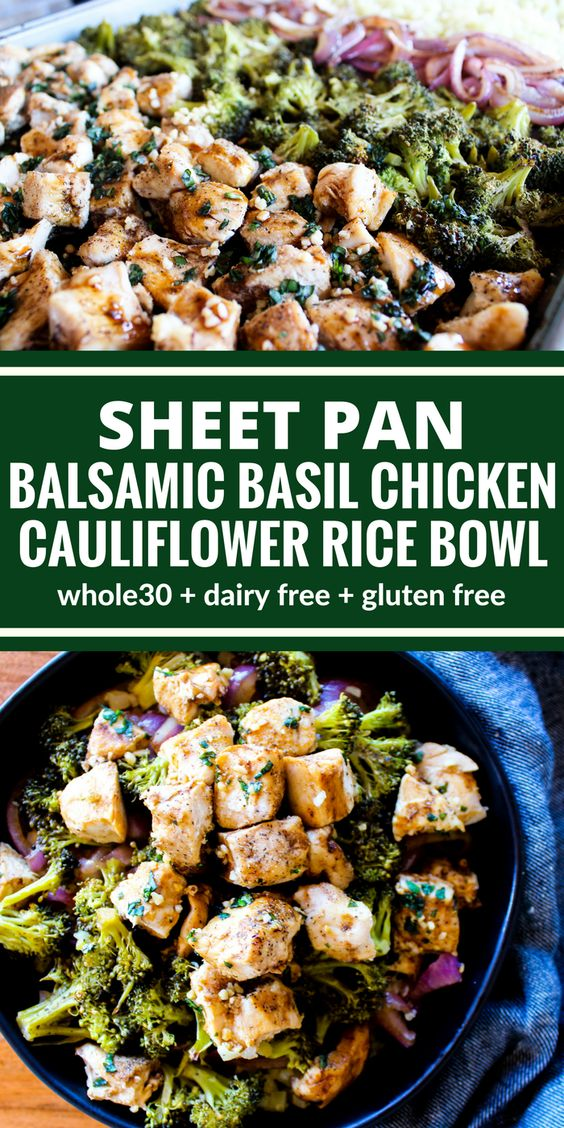 Sheet Pan Balsamic Basil Chicken Cauliflower Rice Bowl