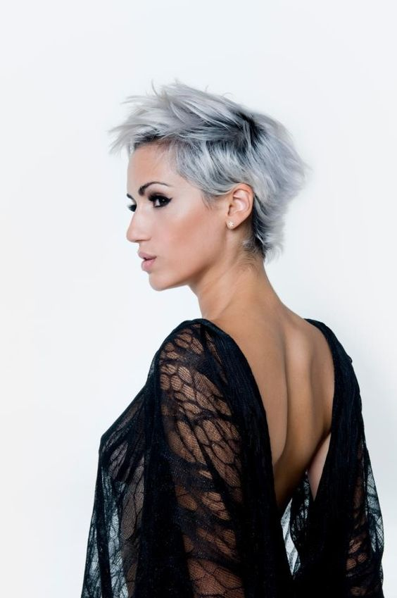 I Miss My Short Platinum Hair Dramatic Looks Pinterest Silver Hair Dark And Dark Roots