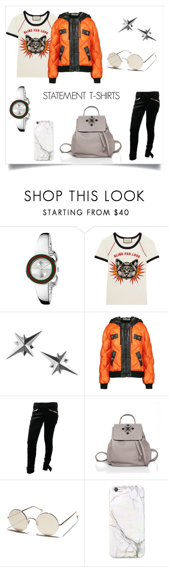 """""""Statement T-shirts"""" by iutta on Polyvore featuring Gucci, Tessa Packard, Moschino, Sunday Somewhere, russell+hazel, StreetStyle, Leather, backpack, embroidered and joyofwearingiutta"""