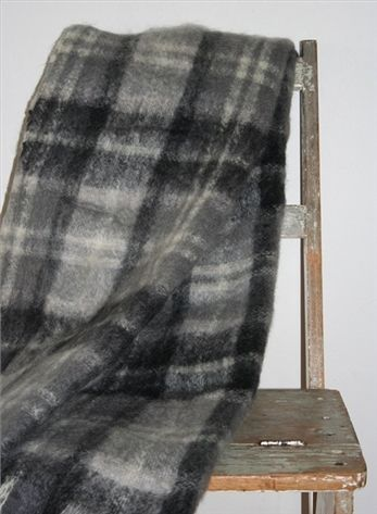 Mohair Mill Shop | Mohair Blankets | Charcoal Plaid Mohair Throw
