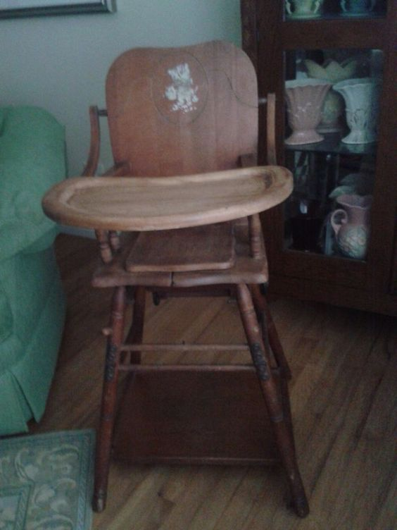 Vintage 1940 S Baby Wooden High Chair 1950s Vintage High