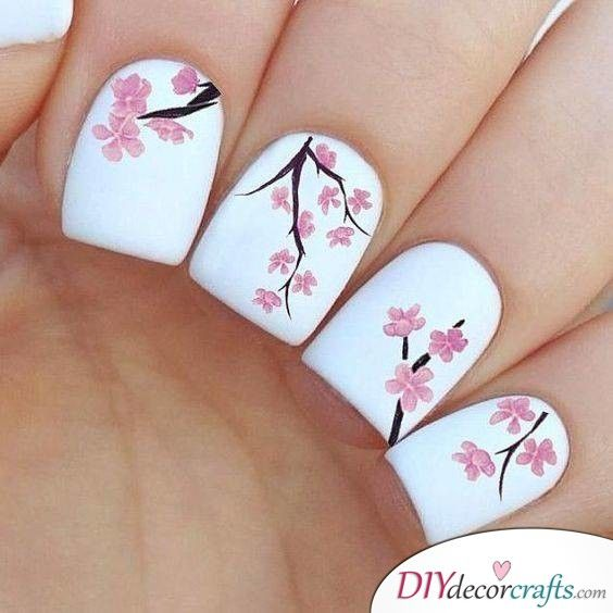 Delicate Cherry Blossoms Simplicity At Its Best Spring Nail Art Simple Nail Art Designs Flower Nails