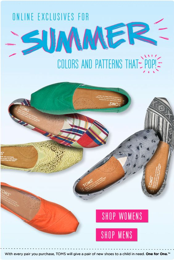 TOMS Shoes and TOMS Eyewear Online Exclusives for Summer 2012 - we give you a run down of what's available and an exclusive coupon!  http://www.shopaholicmommy.com/shopping/new-summer-styles-of-shoes-and-eyewear/