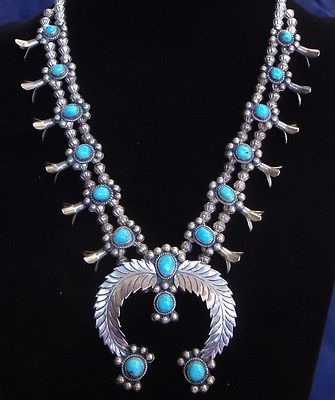 Vintage-Native-American-Squash-Blossom-Necklace-Sterling-Silver-Turquoise