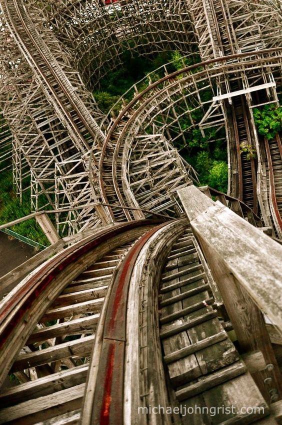Top of the wooden roller coaster aska, in nara dreamland, japan (abandoned theme park)