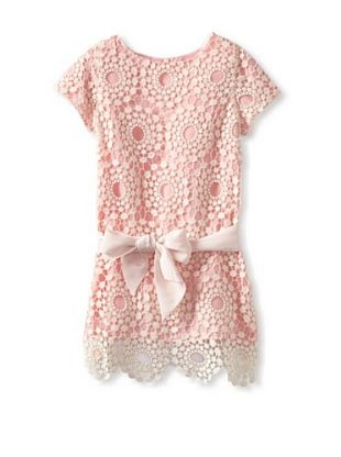 Charabia Girls Lace Dress (Pink) would be cute in cotton as a sundress with dropped waiste bow